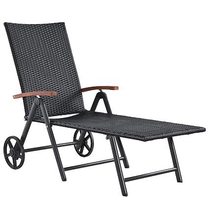 Outdoor Liegestuhl Verstellbar Rattan Relaxliege Festnight Sonnenliege mit R/ädern cm Klappbar Gartenliege 70-107 x 66 x Schwarz Poly Rattan mit Stahlrahmen Garten Rattanliege 150-195