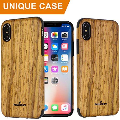 NeWisdom Wood Case for iPhone X Non Slip Thin Slim Unique Designed Cover- Teakwood