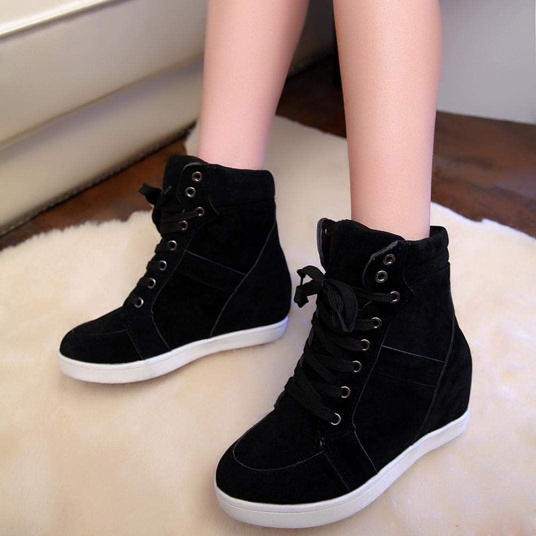 Hemlock Women Lace-up Ankle Boots Heightened Shoes Boots Height Increasing Shoes Platform Wedge Shoes