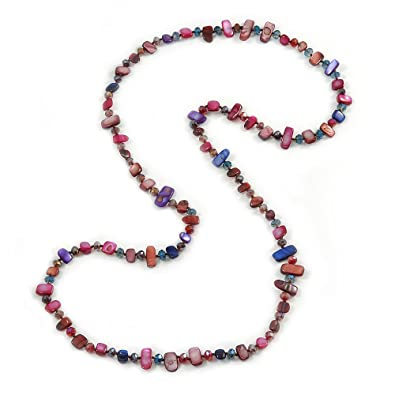 Avalaya Long Multicoloured Shell Nugget and Glass Crystal Bead Necklace (Purple/Blue/Magenta/Plum) - 110cm L doxvy