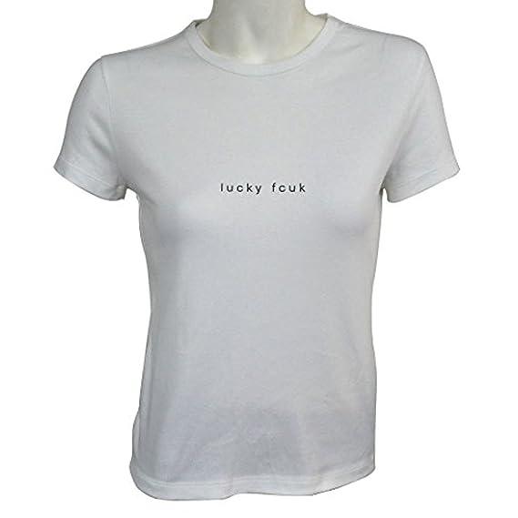 da5467e4cd0 French Connection White Lucky FCUK Short Sleeve T-Shirt Medium: Amazon.co.uk:  Clothing