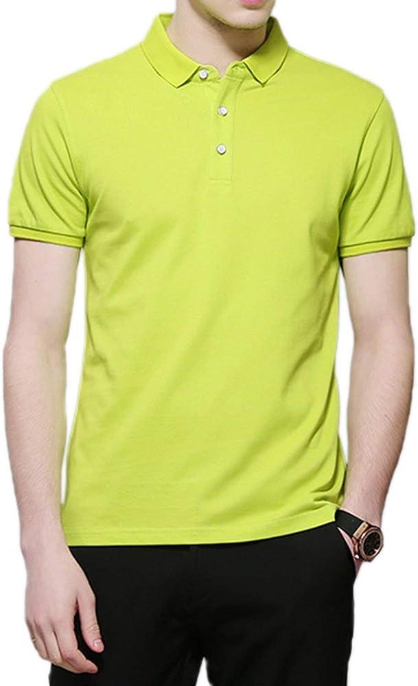 Polo Camisa Básica De Golf Hombre Modernas Tops Casual para De Golf Fit Solapa De Manga Corta Solid Summer Polos Hombre Tops Basic (Color : Amarillo, Size : S): Amazon.es: Ropa y