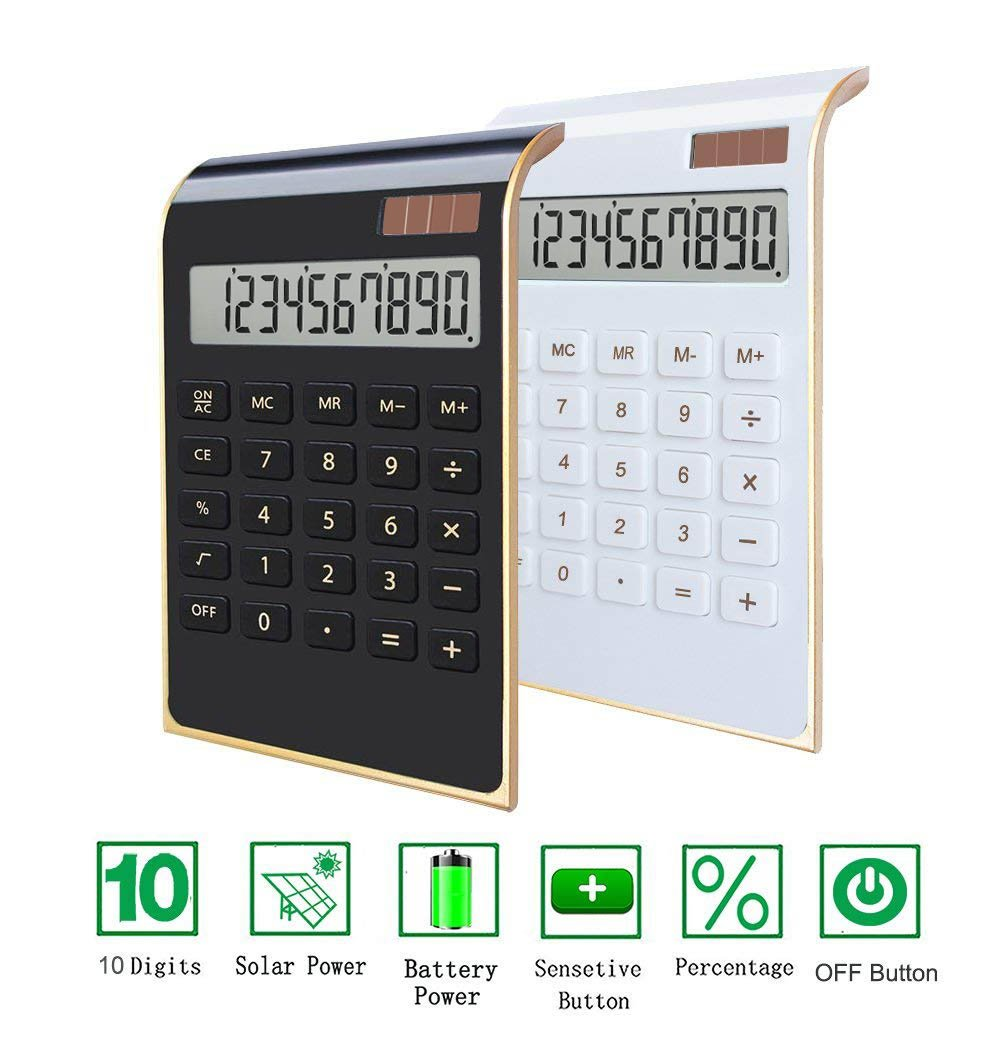 Desktop Calculator, BESTWYA 10-Digit Dual Power Handheld Desktop Calculator with Large LCD Display Big Sensitive Button (New Black & White, Pack of 2) by BESTWYA