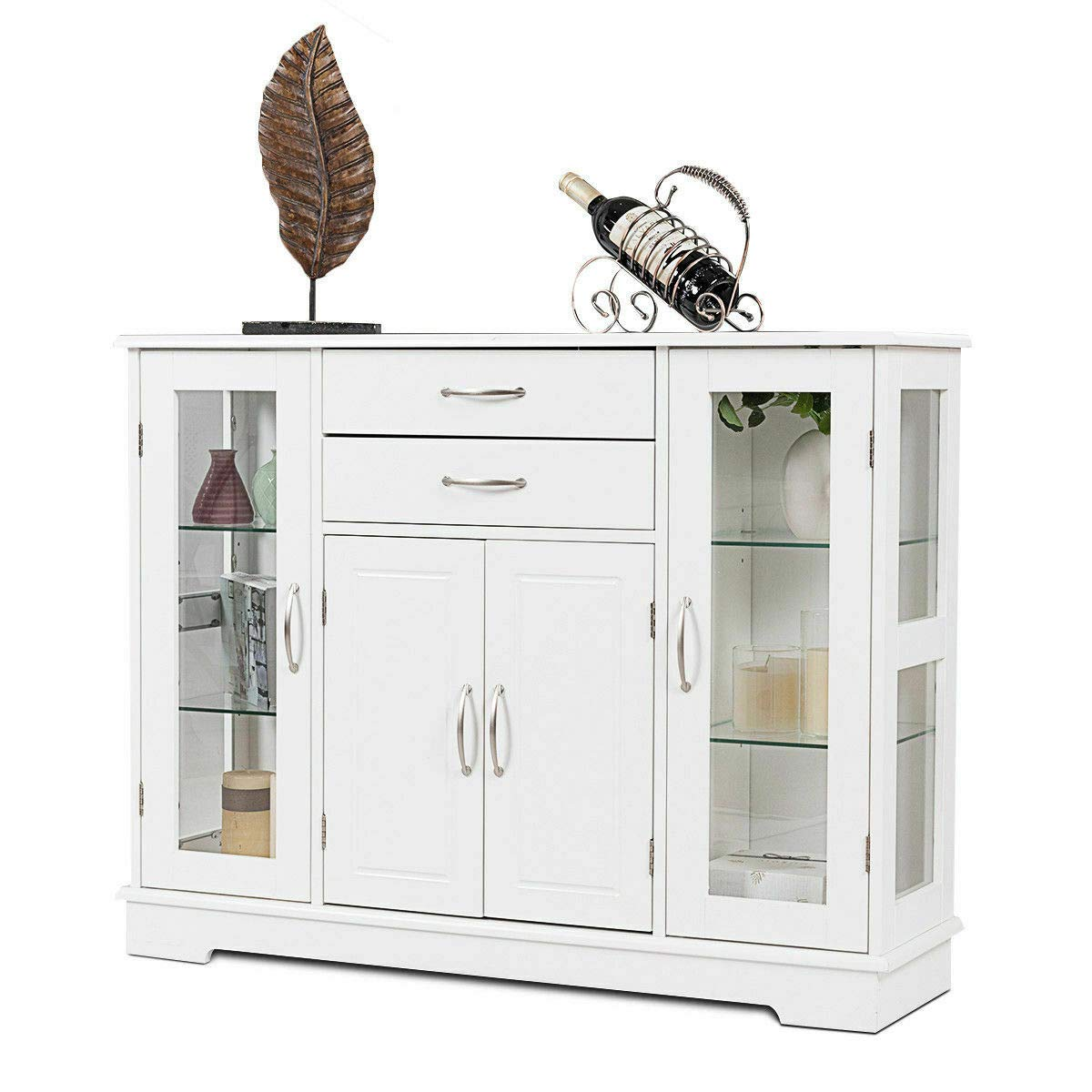 FDInspiration White 42'' Kitchen Cupboard Buffet Storage Cabinet Dining Room Organizer Furniture Hallway Console Table w/Glass Door & Drawers with Ebook