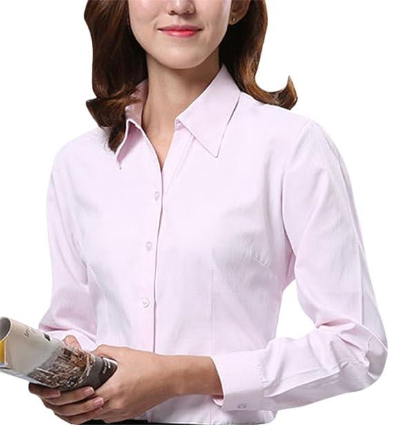Dioufond Camisas Mujer Manga Larga Formal Blusas Color Solido de Algodón