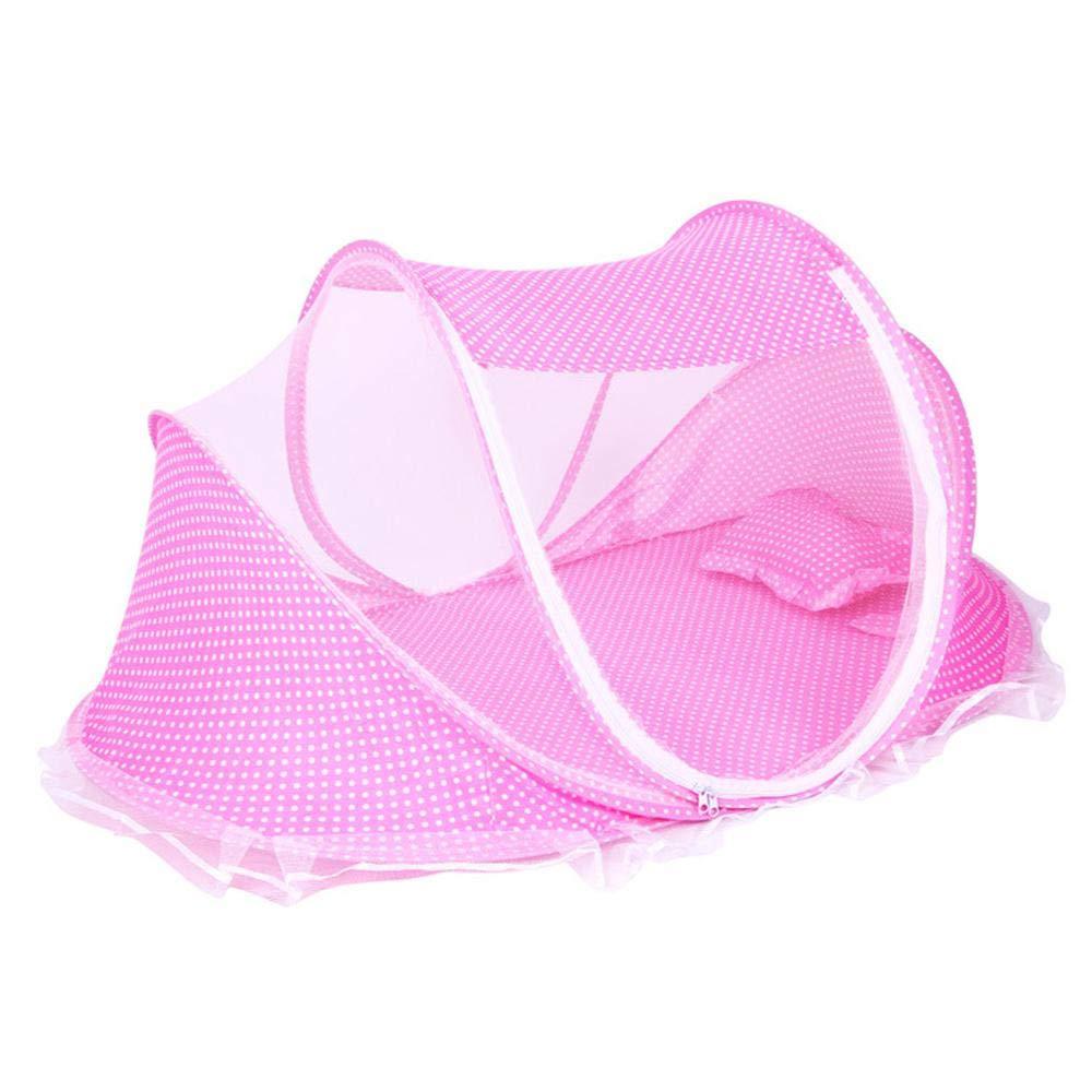 Lettino da Viaggio per Bambini FOONEE Pieghevole Traspirante Ultra Leggero zanzariera Portatile Tenda per Neonati Senza Costruzione Pink con Cuscino