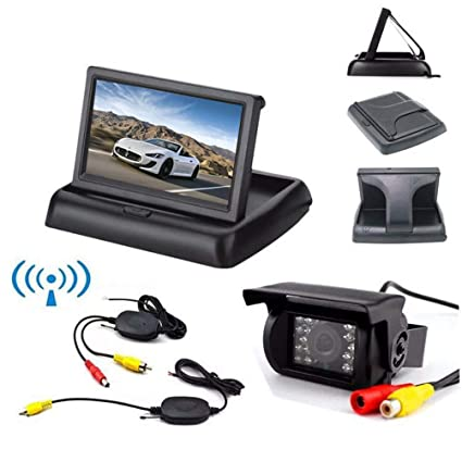 4.3 LCD Foldable Monitor Car Rear View Kit Parking Assistant for Bus Truck Trailer Motorhome Wireless 18 LED IR Night Vision Car Reversing Backup Camera Waterproof