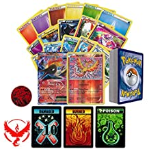 Pokemon GO Team Valor Collection of 50 Random Pokemon Card Lot - Featuring Moltres! Rares - Foils - Energy and Coin! Includes 3 Custom Golden Groundhog Tokens! Comes in Tin or Card Storage Box!