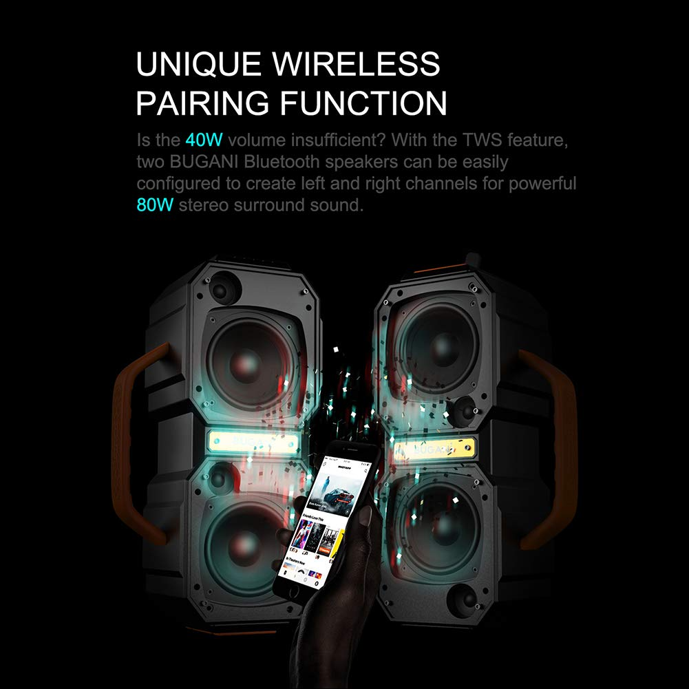 Bluetooth Speakers, Waterproof Outdoor Speakers Bluetooth 5.0,40W Wireless Stereo Pairing Booming Bass Speaker,2400 Minutes Playtime with 8000mAh Power Bank, Durable for Home Party,Camping(Black) by BUGANI (Image #2)