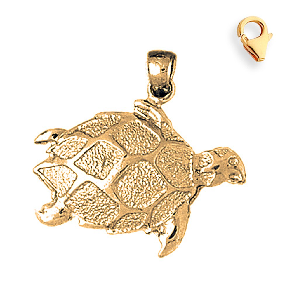 27mm Silver Yellow Plated Turtles Charm