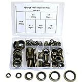 Boeray 150pcs High Press Hydralic Rubber Oil Pipe Seal Gasket NBR Metal Seal Ring Assortment Kits