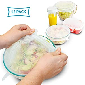 SILICONE STRETCH LIDS 12-Pack - 6 Sizes | Eco Lifestyle Stretchable Silicone Lid, Flexible Silicone Lids Food And Bowl Covers to Keep Your Food Fresh | Reusable Stretch And Seal Lids