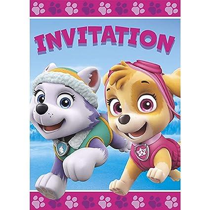 Nina Paw Patrol Paquete De 8 Invitaciones Skye Y Everest Suministros