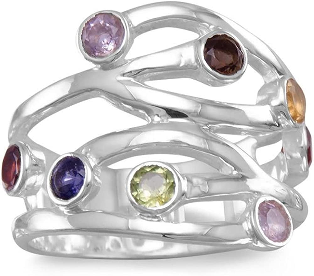 gem stone amethyst Minimalist open ring solid silver open band ring with round peridot and zirconium gold plated band with garnet