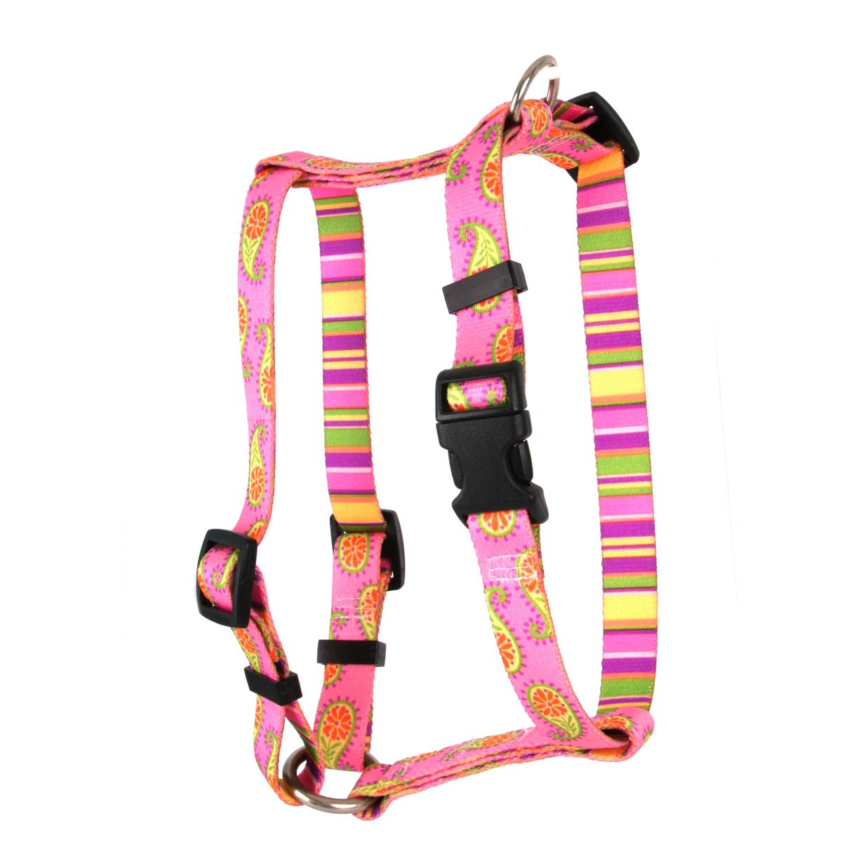Yellow Dog Design Pink Paisley Roman Style H Dog Harness, X-Small-3/8 Wide and fits Chest of 8 to 14''
