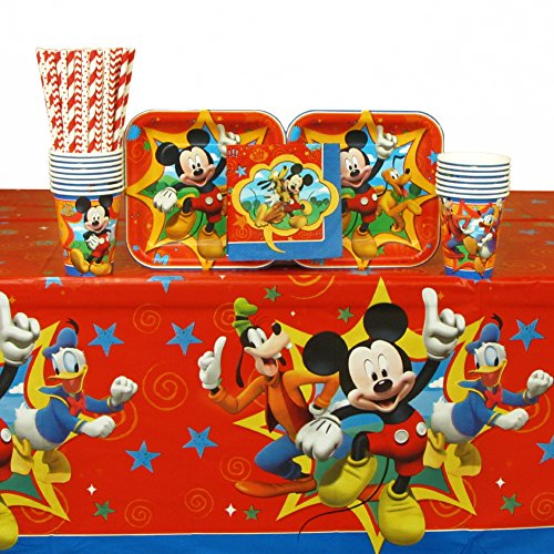 Mickey Mouse Party Supplies Pack For 16 Guests Straws Plates Napkins Cups