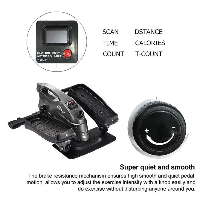 iDeer Life Under Desk&Stand Up bicicleta de ejercicio, Mini Elliptical Stepper Peddler Zapatillas con Resistencia ajustable y pantalla LCD, ...