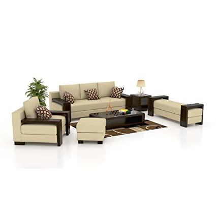 Funterior 3 2 1 Architectural Wood Leatherette Sofa Set Lily
