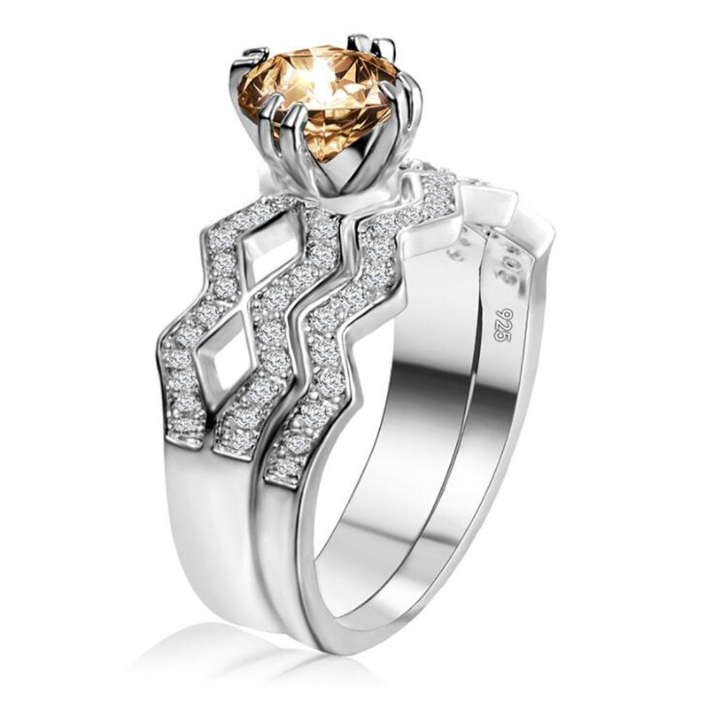 TEMEGO 2 pcs Silver Bridal Sets Weding Rings,CZ Micro Pave Channel Set Champagne Solitaire Rings