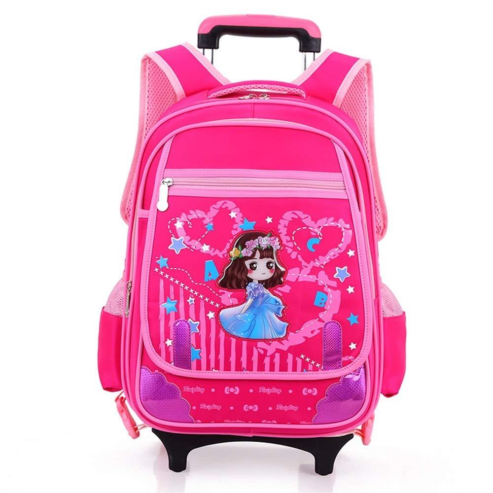Amazon.com: Geromg Wheeled School Backpack Wheels Kids Travel Trolley Bag Schoolbag Kids Children School Bags Girls Boys Detachable Mochila Escolar,Pink: ...