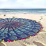 Indio hecho a mano Hippie Wall Hanging Mandala redondo Roundie Tapestry, muebles, gamuza Toalla de playa, colchoneta de yoga, Manta playa