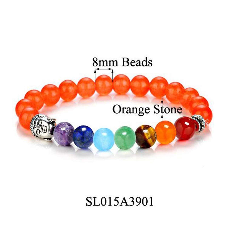 8 Colors 7 Chakra Healing Balance Buddha Beads Bracelets Bangles Charm Natural Stone Bracelet,Red