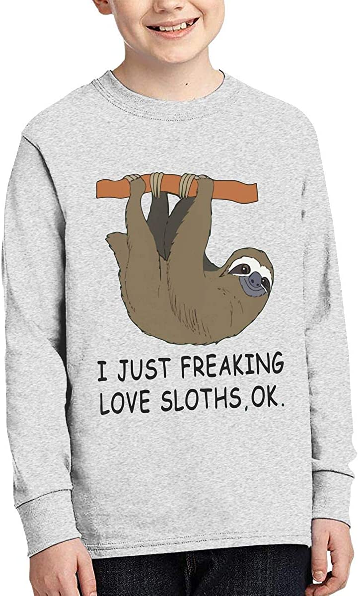 Boys Stylish Long Sleeve Crew Neck Cotton I Just Freaking Love Sloths Ok Tee Top for Youth