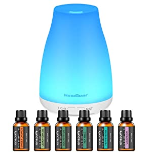 InnoGear Upgraded 150ml Aromatherapy Diffuser with 6 Bottles 100% Pure Essential Oils, Gift Set Aroma Cool Mist Humidifier with 7 Color LED Lights Changing for Home, Office, Aromatherapy
