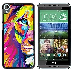 For HTC Desire 820 Case , Art Poster Colorful Vibrant Animal - Diseño Patrón Teléfono Caso Cubierta Case Bumper Duro Protección Case Cover Funda