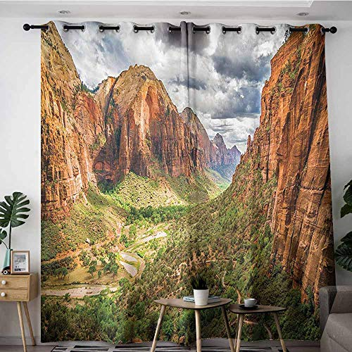 Onefzc Grommet Curtains,National Parks Home Decor Utah Plateau Mojave Desert Southwest Erosion Native Aztec Artistic Print,Darkening Thermal Insulated Blackout,W108x72L,Brown Green]()