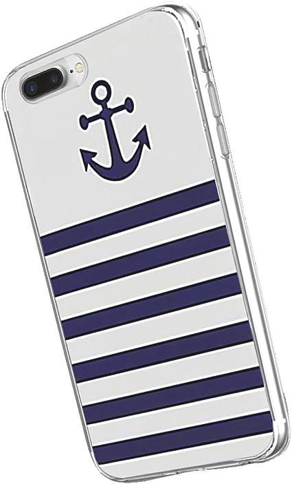 Inonler Rayures Bleu Marine Ancre et Couleurs Coque(Coque iPhone 6S, Coque iPhone 6 (4,7