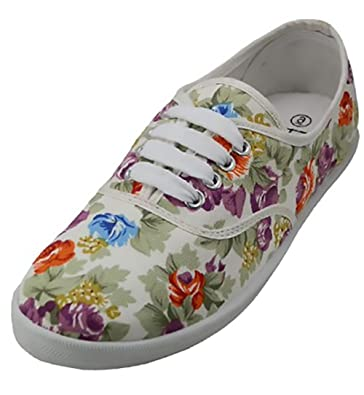 Womens White Multicolor Floral Print Canvas Lace Up Sneaker Plimsoll Tennis Shoe