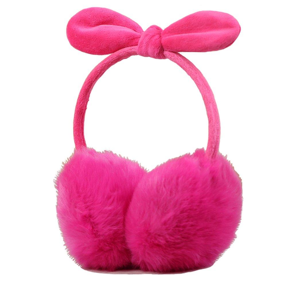 Wowlife Cute Rabbit Ear Faux Furry Earmuffs Winter Outdoor Sports Warmer Earmuff (Hot Pink)