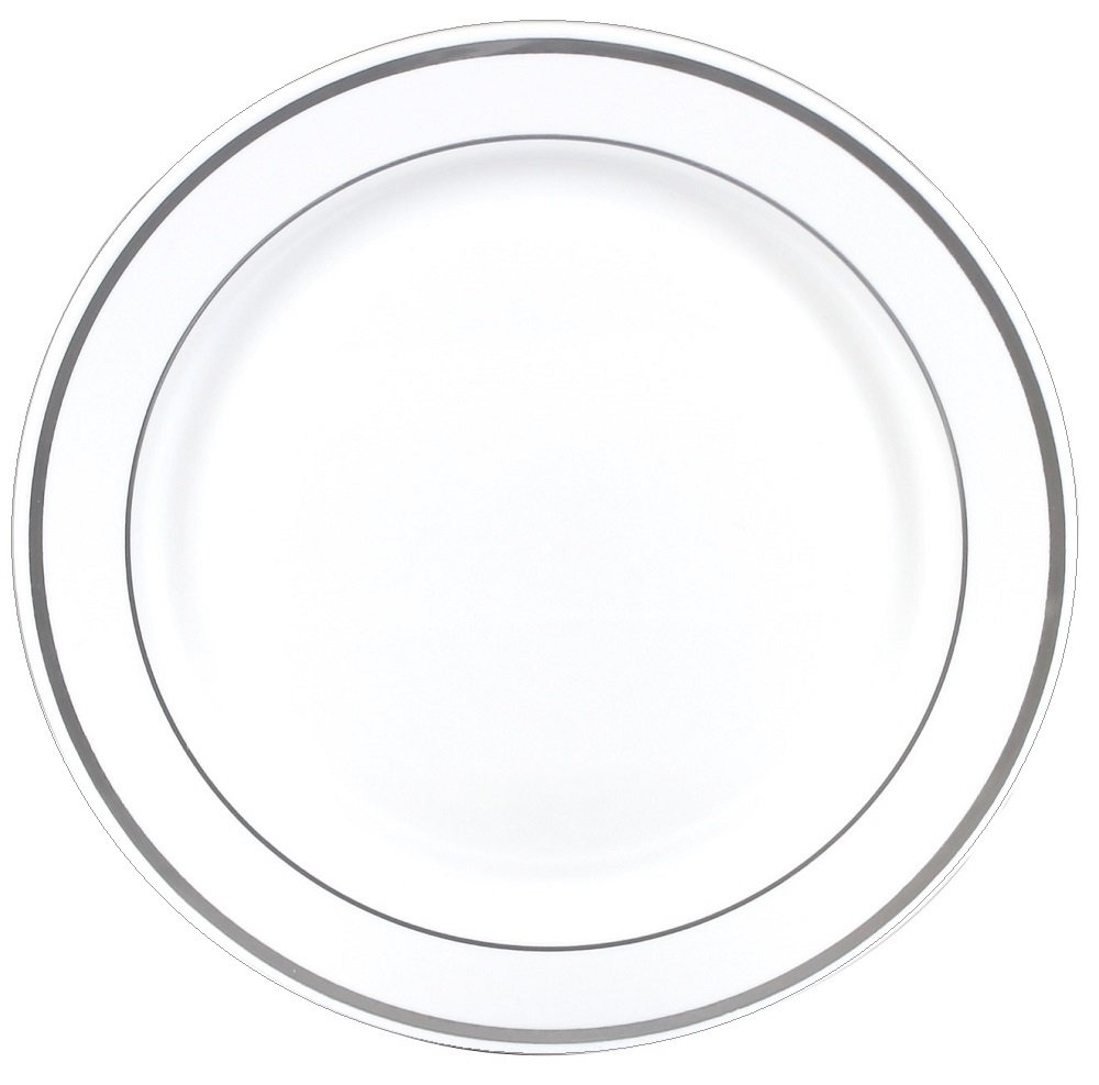 Gourmet Home Products 12 Count Premium Reusable Heavyweight Plastic Dinner Plates, 10.25'', White/Silver, Traditional Metallic