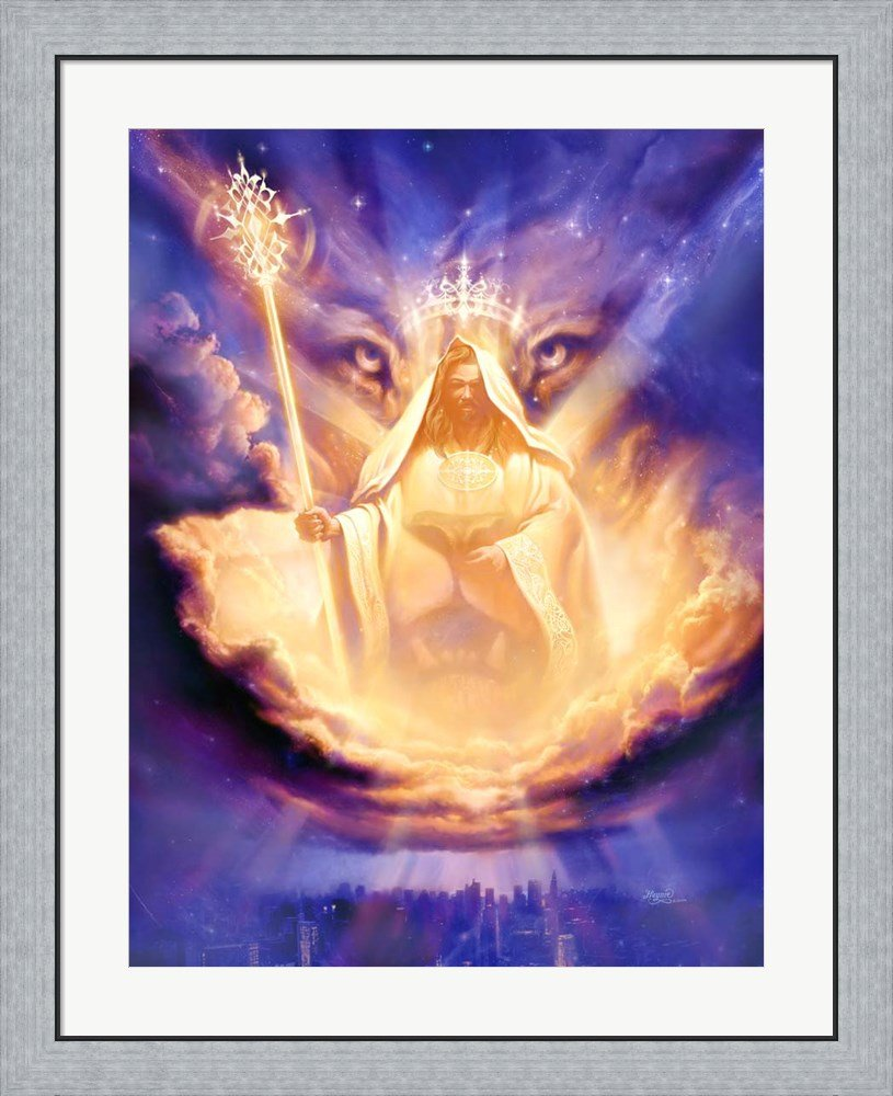 Christian Lion Of Judah by Jeff Haynie Framed Art Print Wall Picture, Flat Silver Frame, 30 x 36 inches by Great Art Now