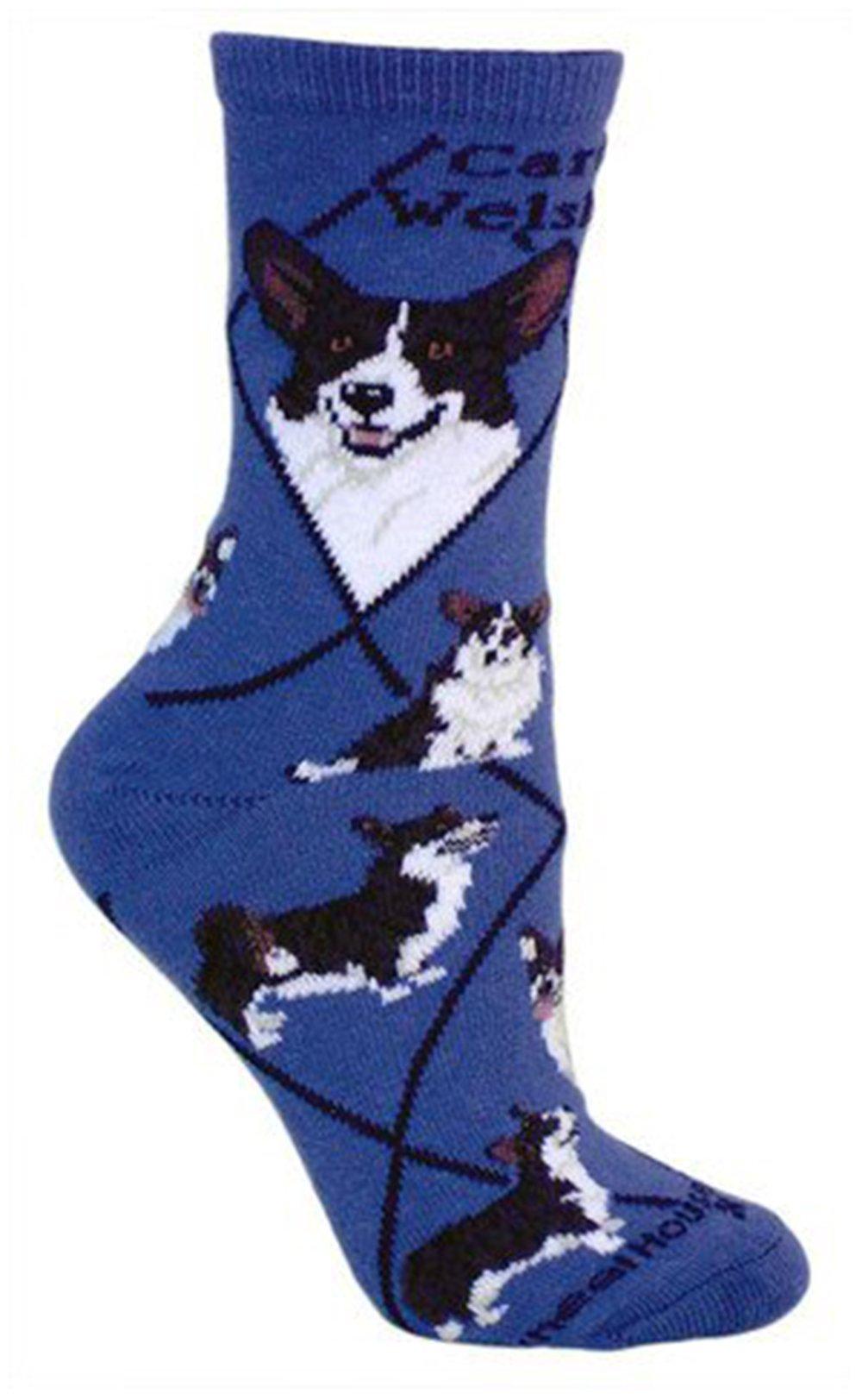 Cardigan Welsh Corgi Animal Socks On Blue 9-11