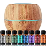 Artnaturals Essential Oil Blends and Diffuser Set – (8 x 10ml Oils, 150ml Tank) – Aromatherapy Gift Set –LED Lights and Auto Shut Off – for All Rooms