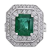 4.59 Carat Natural Emerald And Diamond Ring 14K Solid White Gold