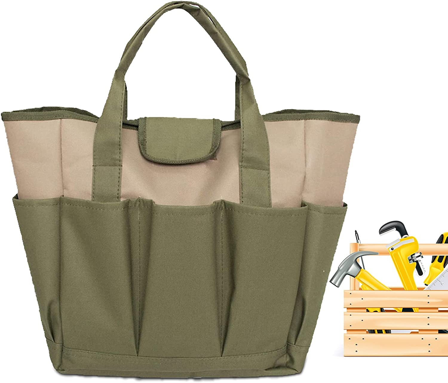 Garden Tool Bag,Canvas Heavy-duty Garden Tote with 8 Deep Pockets Gardening Storage Tote for women Men Garden Plant Tool Set Store Content Bag,for Gardener Regular Size Tools Storage(Army Green)