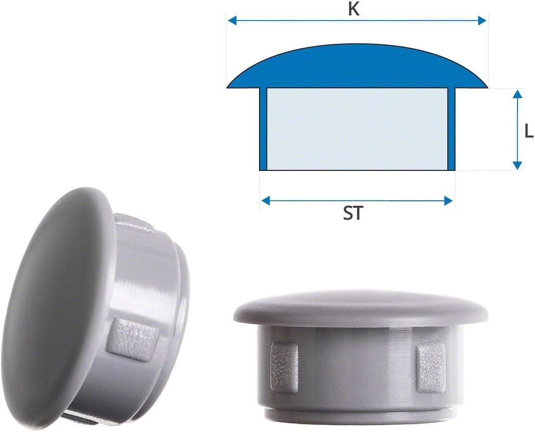 bouchons pour trous de fixation 14x11 mm gris Capuchon plastique bouchons dobturation 10 pcs