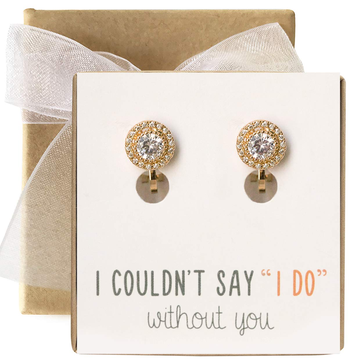 82f7683099b27 Bridesmaid Jewelry - Stud Earrings, Clip-ons, Necklace in Silver, Gold or  Rose Gold