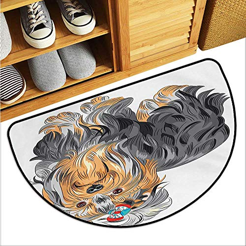 Yorkie Large Outdoor Indoor Rubber Doormat Terrier with Cute Bow on Head Colored Sketch Speckled Dog Lifelike Beast Yorkie Personality W35 x L23 Grey Apricot