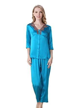 53482a2f94 CLC Women s Pure Mulberry Silk Pajama Set Lace V-Neck Sleep Sets at Amazon  Women s Clothing store