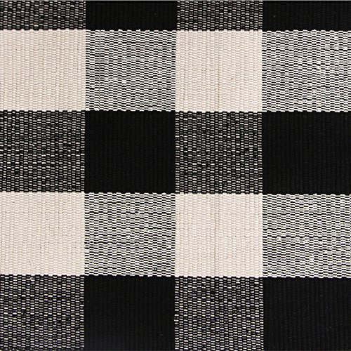 Ustide 100% Cotton Rugs Black/White Checkered Plaid Rug for Kitchen/ Bathroom/ Entry Way/ Laundry Room/ Bedroom 24''x51''