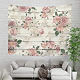 Retro Country Wooden Plank Floral Plant Tapestry Wall Hanging, Vintage Pink Rose Flower on Rustic Wood Panel Wall Tapestry for Home Dorm Decor Living Room Bedroom Bedspread, Wall Blanket, 60X40in