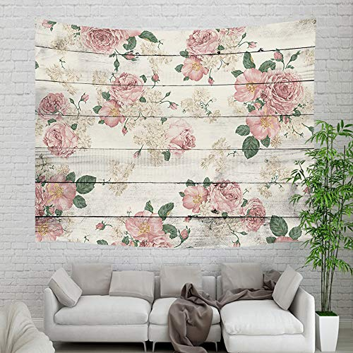 - Retro Country Wooden Plank Floral Plant Tapestry Wall Hanging, Vintage Pink Rose Flower on Rustic Wood Panel Wall Tapestry for Home Dorm Decor Living Room Bedroom Bedspread, Wall Blanket, 60X40in