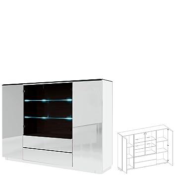 583698eb5562 Highboard Kommode TOGO mit LED beleuchtung (weiß matt (korpus ...