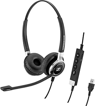 Black Sennheiser SC 165 USB - Double-Sided /& USB Connector with HD Stereo Sound Noise-Cancelling Microphone Headset for Business Professionals Binaural 508317