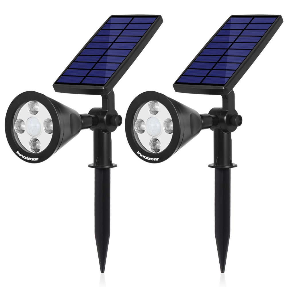 InnoGear 3rd Generation Motion Sensor Solar Lights Outdoor Spotlight Outside Landscape Garden Light LED Security Lighting Auto On/Off for Pathway Yard Walkway Patio Deck, Pack of 2