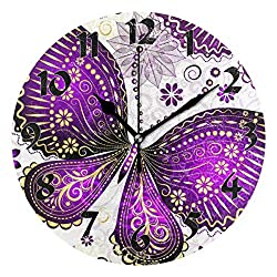 Nander Round Purple Butterfly Wall Clock Silent Non Ticking Battery Operated Decorative for Kitchen Living Room Bedroom Office